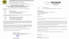 Surat Teguran Sponsorship dan Surat Penawaran Beasiswa Djarum Plus. Dok/ PM UNPAR/ BKA UNPAR