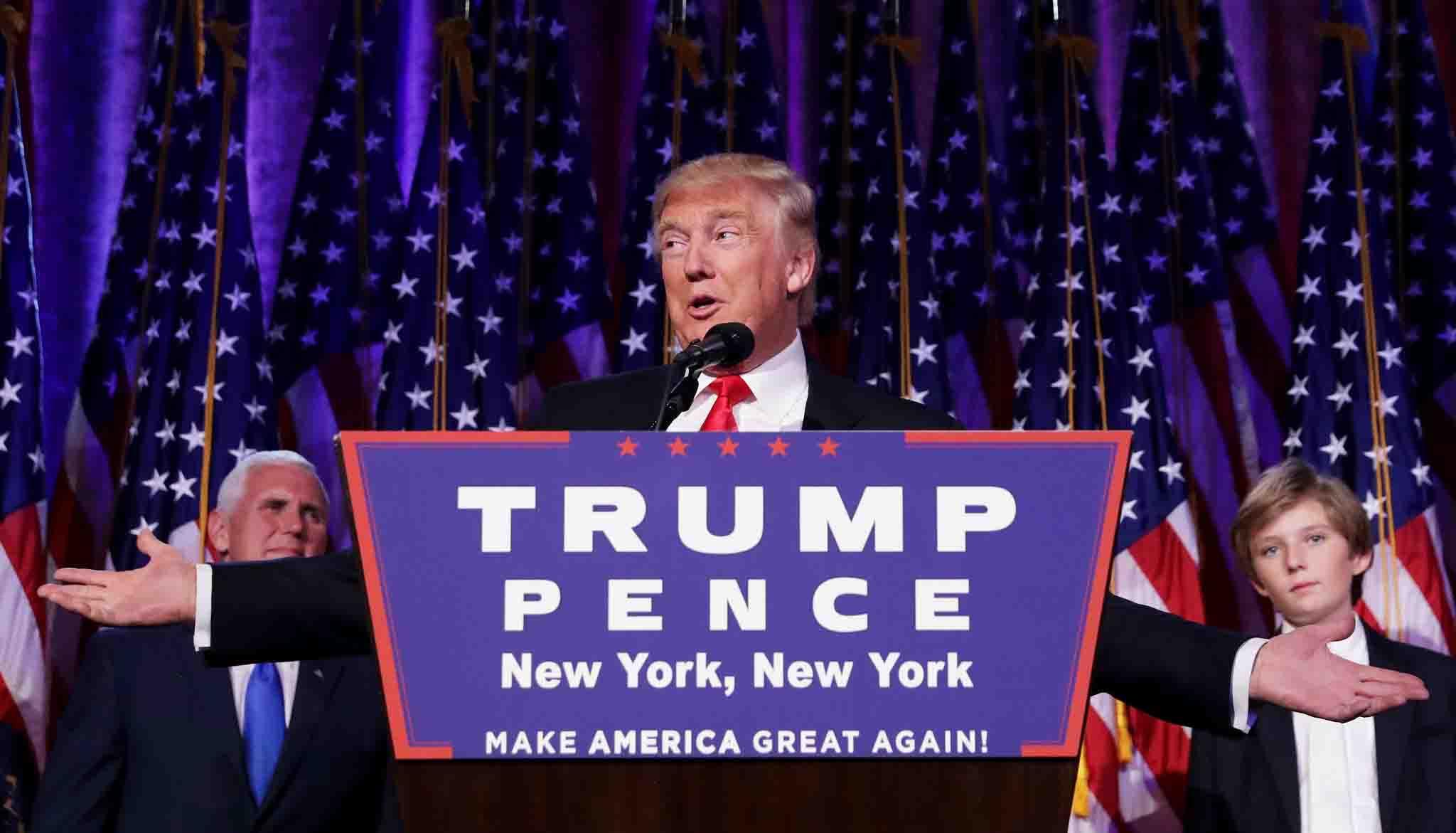 Pidato Malam Pemilihan Umum Trump. Dok/ Los Angeles Times.