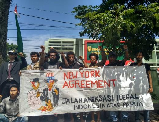 Aksi 15 Agustus 2017 memperingati perjanjian New York yang berujung pada aneksasi Papua oleh Indonesia. Dok/MP