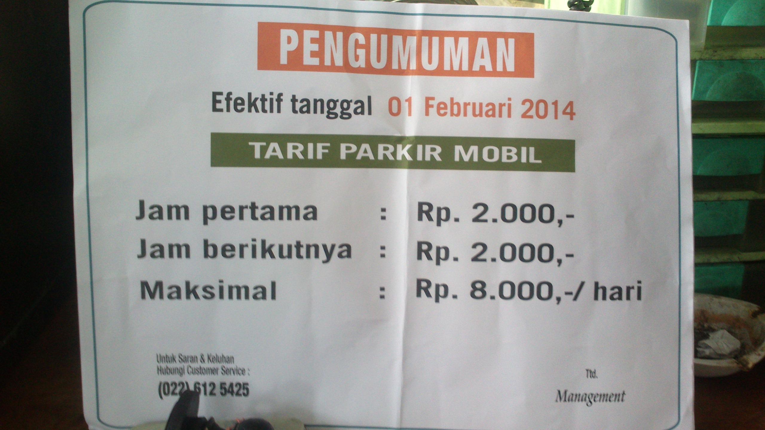 Tarif Parkir Mobil Sempat Naik Tanggal 3 Februari