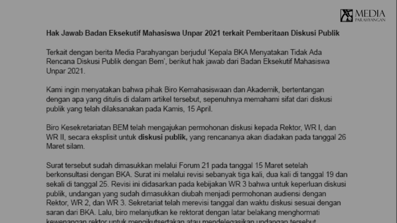 Hak Jawab BEM Unpar 2021 atas Berita Media Parahyangan